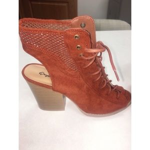 Qupid lace up rust bootie
